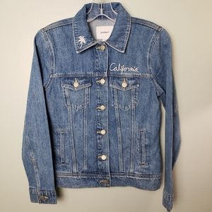 California Embroidered Denim Jacket Old Navy XS